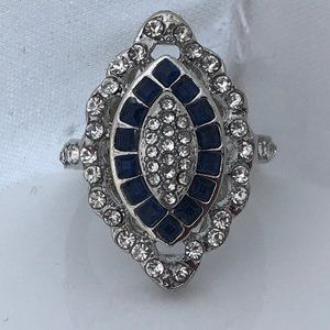 Women Ring Silver Tone Blue Stone Crystal Accents